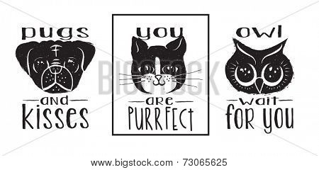 Animal Labels - Monochrome pug, cat and owl ink labels and messages with wordplay, hand drawn illustration