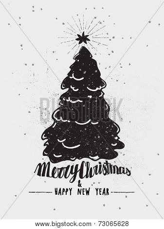 Monochrome Christmas Poster - Christmas tree with star topper in screen print style, ink effect, black and white
