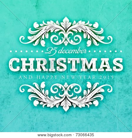 Christmas Typographic Label for Xmas and New Year Design. Calligraphic Vector Decoration. Christmas Greeting Card Template for Holiday Flyer, Placard and Poster Designs. Vintage Frame and Border.