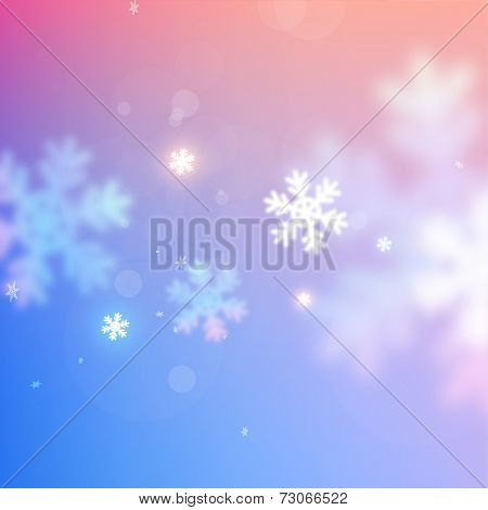 Winter Christmas Blurred Bokeh Background with Glow Snowflakes. Holiday Design for New Year Greeting Cards, Posters and Flyers. Vector.