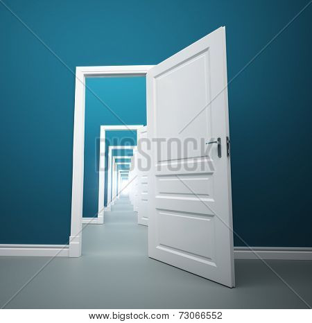 Long way of opened doors with light at the end