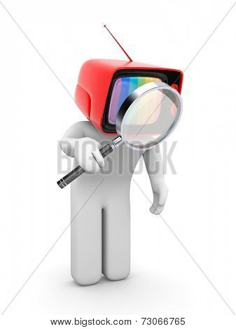 TV-head with magnifying glass