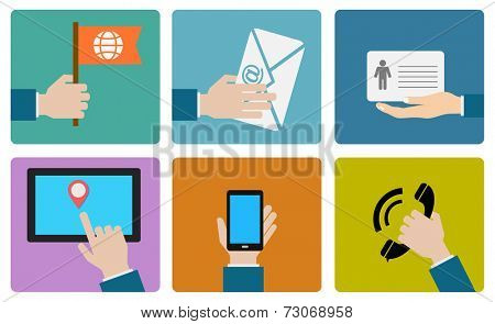 contact us flat icon design