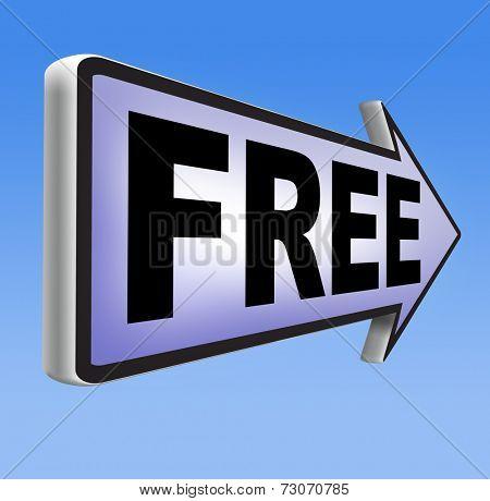 Free product trial sample offer or gratis download webshop web shop road sign