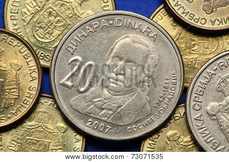 Coins of Serbia. Serbian statesman Dositej Obradovic depicted in Serbian twenty dinars coin.