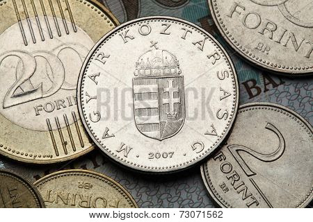 Coins of Hungary. Hungarian national coat of arms depicted in the Hungarian ten forint coin