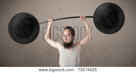 Funny skinny guy lifting incredible weights