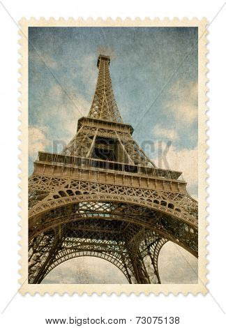 Paris Eiffel tower vintage postage stamp isolated with clipping path.