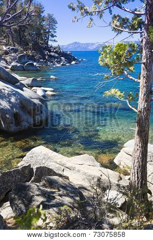 Beautiful Clear Water Shoreline of Lake Tahoe.