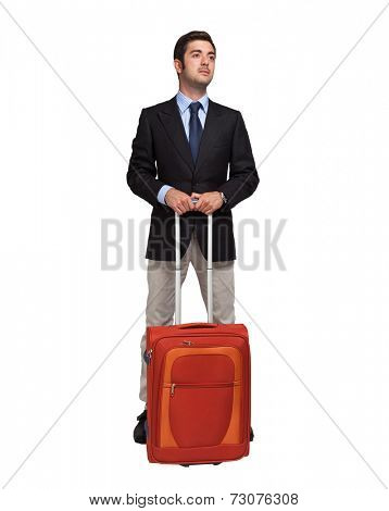 Businessman with trolley bag. Isolated on white