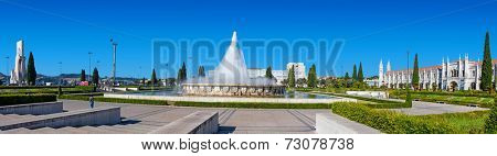Lisbon, Portugal. August 24, 2014:  Imperio garden with the fountain in the Belem District. Lisbon, Portugal.