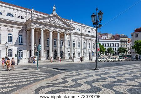 Lisbon, Portugal. August 31, 2014: Dona Maria II National Theatre in Rossio Square, the main square of Lisbon, Portugal.