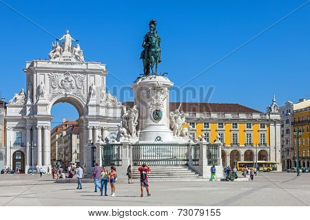 Lisbon, Portugal. August 31, 2014: Commerce Square, Praca do Comercio or Terreiro do Paco, with the iconic Triumphal Arch and King Dom Jose I statue in Lisbon Baixa District (Downtown)