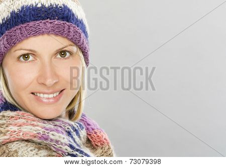 40's years nice woman portrait in winter clothes