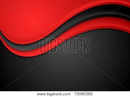 Abstract red and black wavy background. Vector design