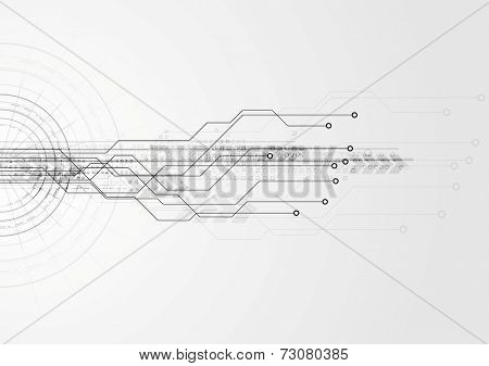 Grey hi-tech circuit board background. Vector design