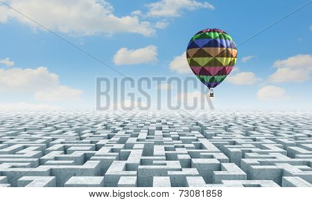 Conceptual image with balloons flying high in sky