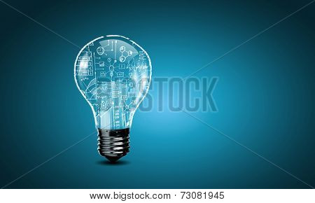 Conceptual image with light bulb and business sketches inside