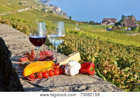 Wine and vegetables. Lavaux, Switzerland