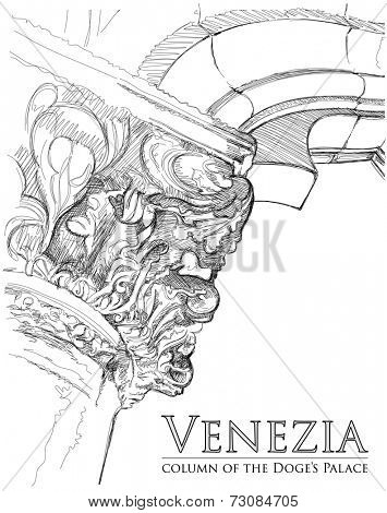 Venice - Piazza San Marco. Capitals of the column of the Doge's Palace. Vector drawing