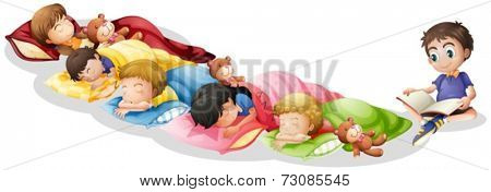Illustration of children taking a nap
