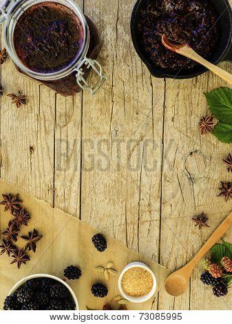 Blackberry jam - freshly homemade blackberry jam, space for text