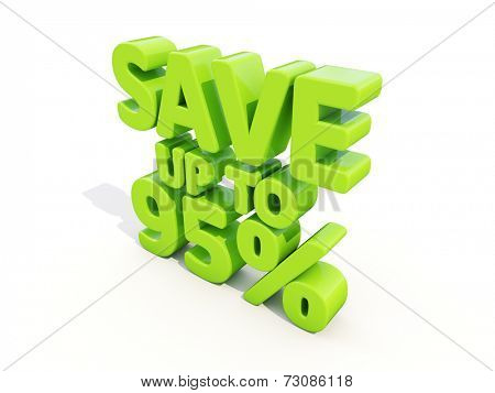 The phrase Save up to % on a white background