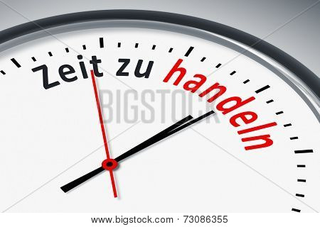 An image of a typical clock with text time for action in german language