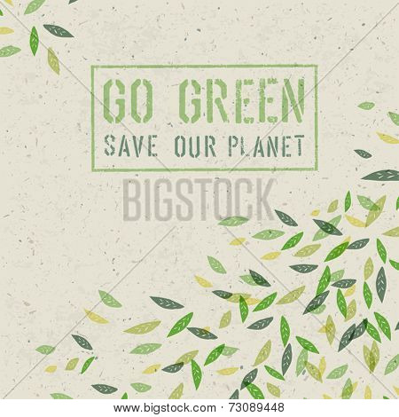 Go Green concept on recycled paper texture. Vector