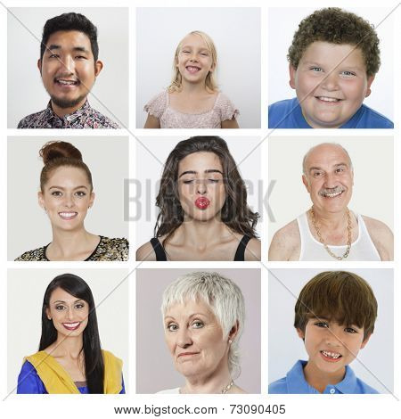 Collage of multiethnic people