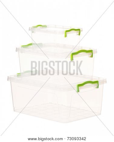 Plastic container for foodstuffs, isolated on white background