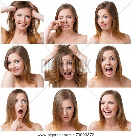 Collage of woman different facial expressions on white background