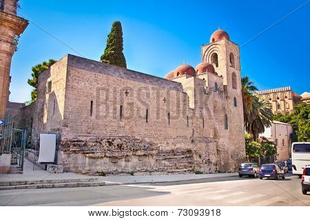 St. John of the Hermits church in Palermo. Sicily.  church showing elements of Byzantine, Arabic and Norman architecture.