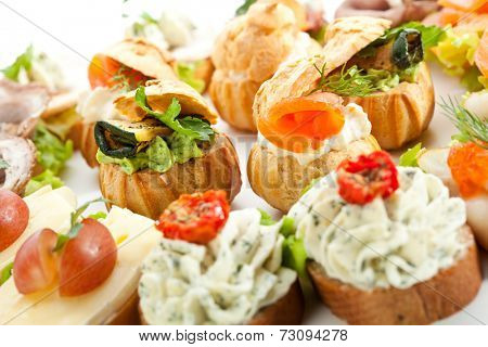 Delicious Appetizer Cheese Canapes. Selective Focus