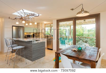 Kitchen and Dinning Room in Contemporary Modern Home