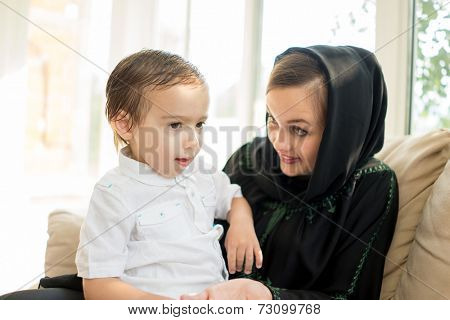 Beautiful Arabic family, mother and cute baby