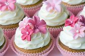stock photo of sugar paste  - Wedding cupcakes decorated in different shades of pink - JPG