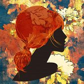 stock photo of ponytail  - art dark silhouette profile of beautiful girl with red floral ponytail hair on colorful floral background - JPG