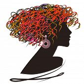 art sketched beautiful girl face with curly hair and bijou in profile in color and black graphic on white background poster