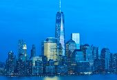 stock photo of freedom tower  - New York City Manhattan skyline with One World Trade Center Tower  - JPG