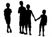 pic of exaltation  - Silhouettes of young children on a white background - JPG