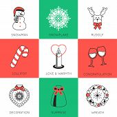 picture of rudolf  - Set of modern style Christmas flat icons compositions - JPG