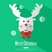 pic of rudolf  - Merry Christmas background with deer Rudolf and place for text - JPG
