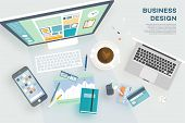 stock photo of creativity  - Flat Style Modern Design Concept of Creative Office Workspace - JPG