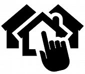 stock photo of row houses  - Black vector icon of hand clicking on house - JPG