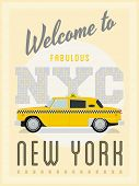 stock photo of cabs  - Retro New York Taxi Poster Vector Illustration - JPG