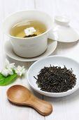 stock photo of jasmine  - jasmine tea with arabian jasmine flower - JPG