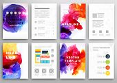 pic of placard  - Set of Vector Poster Templates with Watercolor Paint Splash - JPG