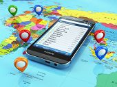 Travel destination and tourism concept. Smartphone on world map and pins. 3d poster