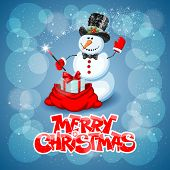 picture of wizard  - Christmas greeting card with cute snowman wizard on magic background - JPG